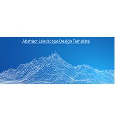 3d wireframe landscape vector image