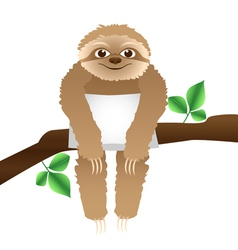 Sloth with a pillow sitting on a branch vector