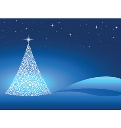 Starry christmas tree vector
