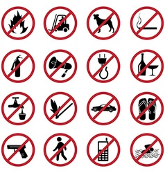 Prohibited icons set vector