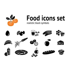Food icons set fish cake mushrooms honey vector