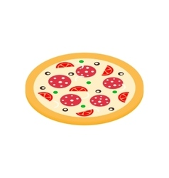 Pizza icon in isometric 3d style vector