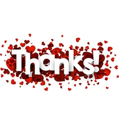 Thanks card with hearts vector