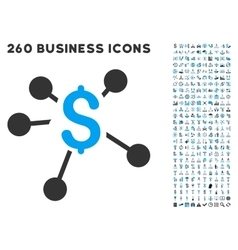 Money distribution icon with flat set vector
