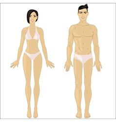 Asian woman and man in underwear vector
