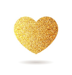 Gold glitter heart valentine day banner card vector