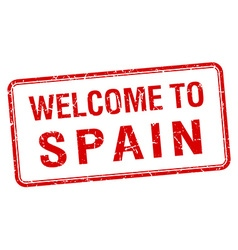 Welcome to spain red grunge square stamp vector