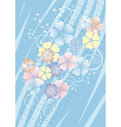 Bluish background with flowers vector