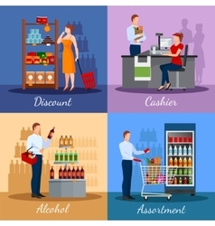 Assortment Of Products In Supermarket vector image