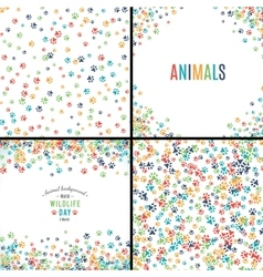 Background with paw prints set of patterns vector