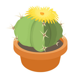 Blooming cactus icon cartoon style vector
