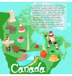 Canada map travel and landmark concept vector