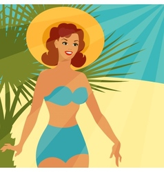Card with beautiful pin up girl 1950s style on the vector