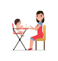 Cartoon mother feeding baby vector