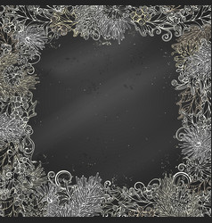 Chalk christmas festive frame on blackboard vector