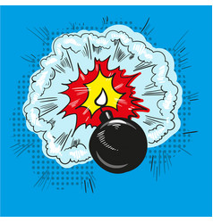 Comic bomb explosion pop art retro style halftone vector