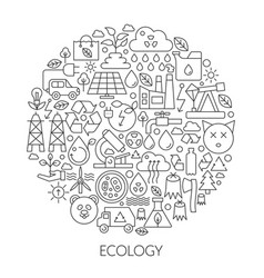 ecology technology icons in circle - concept line vector image vector image