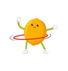 Flat lemon character hula hoop exercise vector
