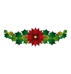 floral christmas decoration isolated icon vector image vector image