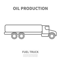 Fuel truck in linear style vector