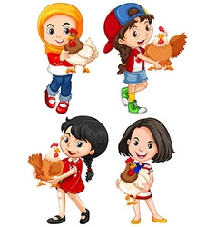 Girls hugging cute chicken vector image vector image