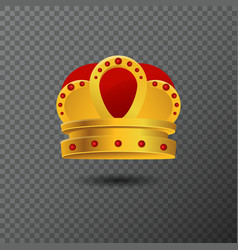 golden crown icon with red stones luxury vector image