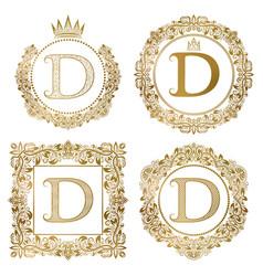 Golden letter d vintage monograms set heraldic vector