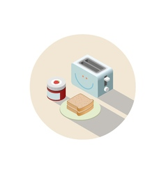 isometric of toaster and breakfast with toasts and vector image