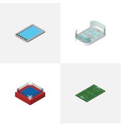 Isometric training set of basin fighting soccer vector