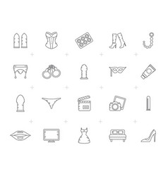 line sex shop erotic and temptation icons vector image
