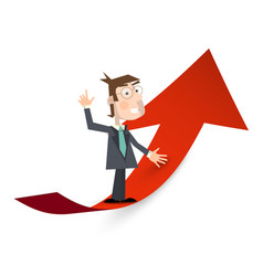 Man in suit on red arrow success and business vector