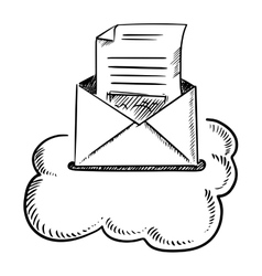 Open e-mail letter in cloud vector
