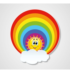 rainbow sun and cloud vector image vector image