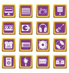 Recording studio items icons set purple vector