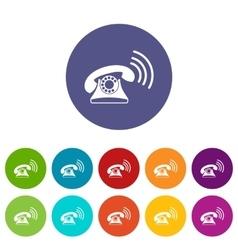 Retro phone set icons vector image