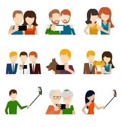Selfie icons set in flat design style vector image
