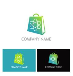 shopping bag science logo vector image vector image