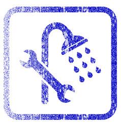 Shower plumbing framed textured icon vector