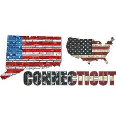 USA state of Connecticut on a brick wall vector image vector image