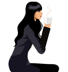 woman with coffee vector image vector image