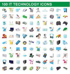 100 it technology icons set cartoon style vector image vector image