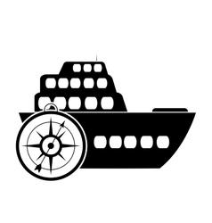 Cruise ship and compass icon vector