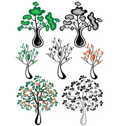 Stylized trees of different species vector