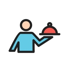 Man serving food vector