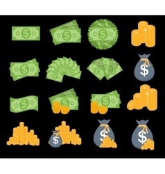 Us dollar stack paper banknotes and gold coins vector