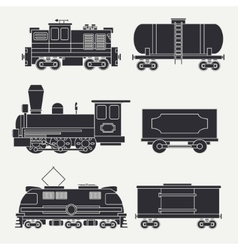Trendy flat modern and vintage trains with cargo vector