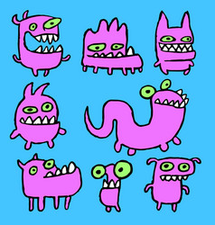 Pink monsters emoticons set vector