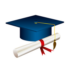 color graduation hat with diploma vector image