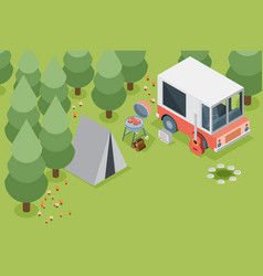 Camping travel outdoor active vacation flat 3d vector