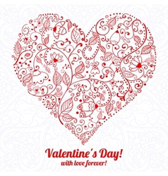 Valentines day lacy paper heart greeting card vector